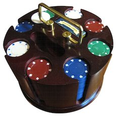 Nice Vintage Poker Chip Caddy with Chips and Cards