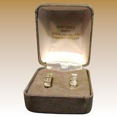 18K Gold over Sterling Diamond Accent Huggie Earrings