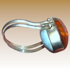 Unusual Amber & Larimar Sterling Flip Ring, Size 7