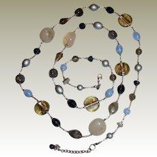 "Premier Designs Foiled Art Glass, Banded Art Glass, Quartz & Faceted Crystal 40"" Necklace"