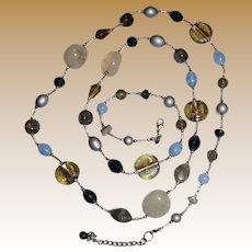 "Premier Designs Foiled Art Glass, Banded Art Glass, Quartz & Faceted Crystal 40"" Necklace"