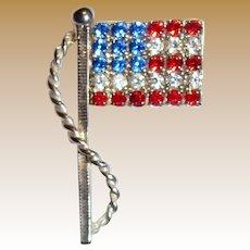 Patriotic Swarovski Crystal American Flag Silvertone Pin