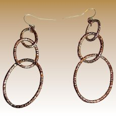 Distressed Copper Triple Hoop Chandelier Earrings