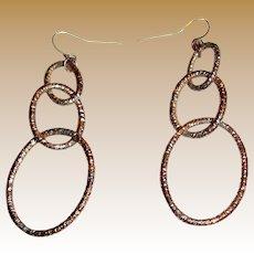 Elegant Distressed Copper Triple Hoop Earrings