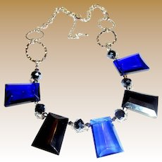 "Dramatic Large Blue Crystal Festoon 18 - 20"" Necklace"
