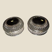 Matched Pair of Elegant Silver Plated Trinket Dresser Boxes