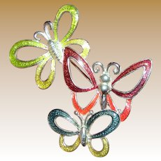 Triple Flying Butterfly Silvertone Enameled Pin
