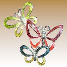 Triple Flying Butterfly Silvertone Enameled Pin