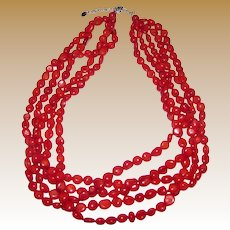 5 Strand Dyed Red Coral Torsade Necklace w/ Sterling Clasp