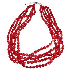 Red 5 Strand Coral Torsade Necklace w/ Sterling Clasp