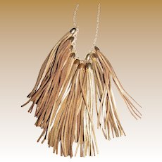 "Dramatic Runway Gilt Fringed Leather Bib 36"" Necklace"