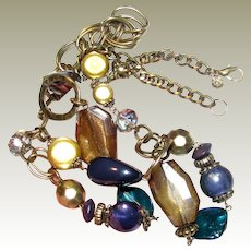 """Bold 30"""" Goldtone Necklace w/ Shell, Glass & Hard Plastic Beads by Ruby Rd"""