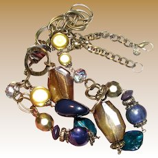 "Bold 30"" Goldtone Necklace w/ Shell, Glass & Hard Plastic Beads by Ruby Rd"
