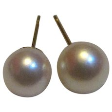 VERY Slightly Mismatched Akoya Cultured 7mm Pearl 14k Stud Earrings