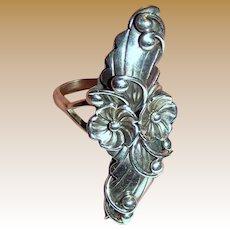 Kieth James Navajo Sterling Squash Blossom Ring Sz 9