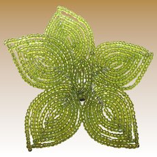 Large Lime Green Micro Glass Bead Pin