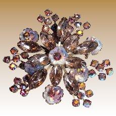Elegant Glass & Rhinestone Flower Pin, Beautiful Rose Shades