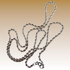"Elegant 24"" Sterling Silver Twisted Rope Chain"