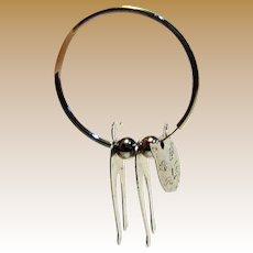 Amusing Silvertone 3D Cat Hoop Earrings