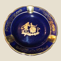 Blue & Gold Limoges Ashtray, Made in France, Porcelain, Near Mint