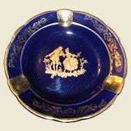 Blue & Gold Limoges Ashtray, Made in France, Porcelain, Near Mint