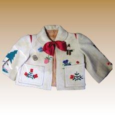 Darling Old German Appliqued Wool Jacket for Bear
