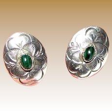 Arthur Platero Navajo Sterling Silver Malachite Pierced Earrings