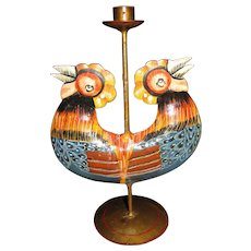 Fine Mexican Tole Folk Art Candlestick w/ Double Roosters
