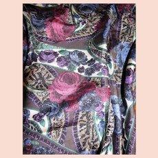 "30"" Sq Rose Paisley Silk Twill Scarf"