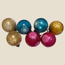 7 Circa 1970's USA Made Glass Tree Ornaments
