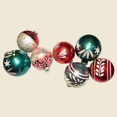 7 Circa 1960's Glass Tree Ornaments