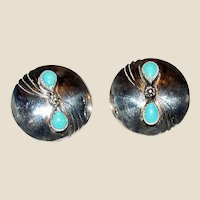 Native American Sterling & Sleeping Beauty Turquoise Concho Earrings