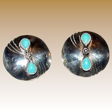 Native American Sterling & Sleeping Beauty Turquoise Concho Earrings