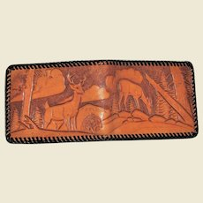 Vintage Hand Tooled Leather Decorated Wallet / Billfold, Buck & Doe in the Woods, Like New