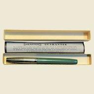 1960's Sheaffer Fountain Pen, Chrome Top Green Bottom Fine Nib (No Ink Cartridge) Original Box, Like New
