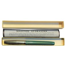 1960's Sheaffer Fountain Pen, Chrome Top Green Bottom Fine Nib (No Ink Cartridge) Original Box, Like New