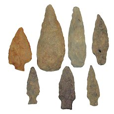"7 pc Authentic Spearheads; Neolithic Archaic - Woodland Period (7,000 - 2,000 BC) 2""-4"" Santee River"