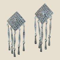 Large Sterling & Marcasite Chandelier Earrings 17.6 grams