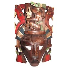 "Vintage Mayan Hand Carved Hand Painted 15"" Wooden Totem Mask"