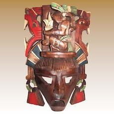 """Vintage Mayan Hand Carved Hand Painted 15"""" Wooden Totem Mask"""