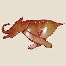 Vintage Book Piece Celluloid & Rhinestone Running Elephant Pin