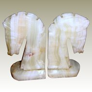 Carved Onyx Chess Knight Horse Head Bookends