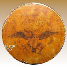 "Circa 1815 American ""Patriotic"" Decorated Paper Mache Snuff Box, Commemorating War of 1812"