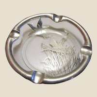 "Silver Overlay Lead Glass Ashtray, Decorated with Flying Ducks - Silver City Glass Co. ""Duck"", Circa 1940's, Nearly New"