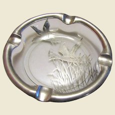 """Silver Overlay Lead Glass Ashtray, Decorated with Flying Ducks - Silver City Glass Co. """"Duck"""", Circa 1940's, Nearly New"""