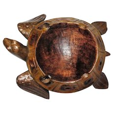 Sea Turtle Trinket Tray, Hand Carved Wood, Nice