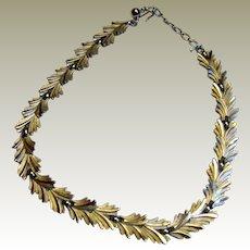 Crown Trifari 1950's Silvertone Leaf Choker Necklace