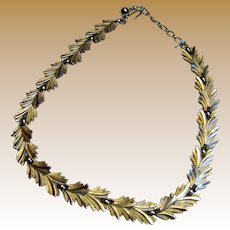 Crown Trifari 1950's Silvertone Leaf Choker Necklace
