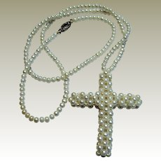 """20"""" Handwoven Faux Seed Pearl Cross Necklace, Bridal!"""