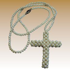 "20"" Handwoven Faux Seed Pearl Cross Necklace, Bridal!"